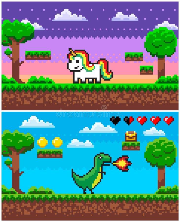 Licorne de dinosaure, graphiques de Pixelated de jeu de pixel illustration stock