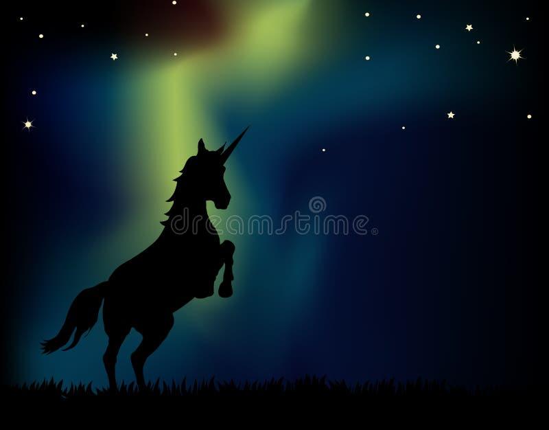 Licorne de lumières nordiques illustration libre de droits