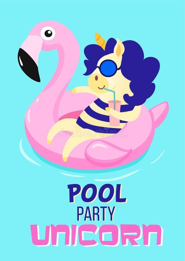 Licorne de réception au bord de la piscine Carte d'été de vecteur illustration stock