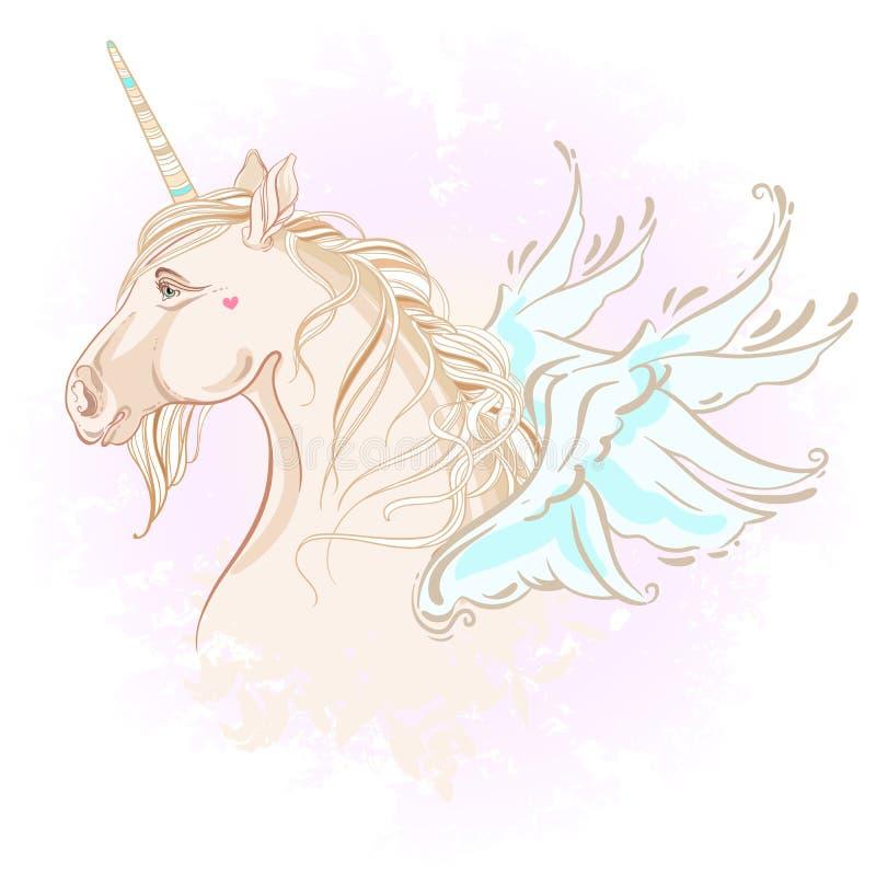 Licorne de style de vanille jolie avec avec des ailes dans des couleurs en pastel Fond rose d'aquarelle Illustration courante de  illustration stock