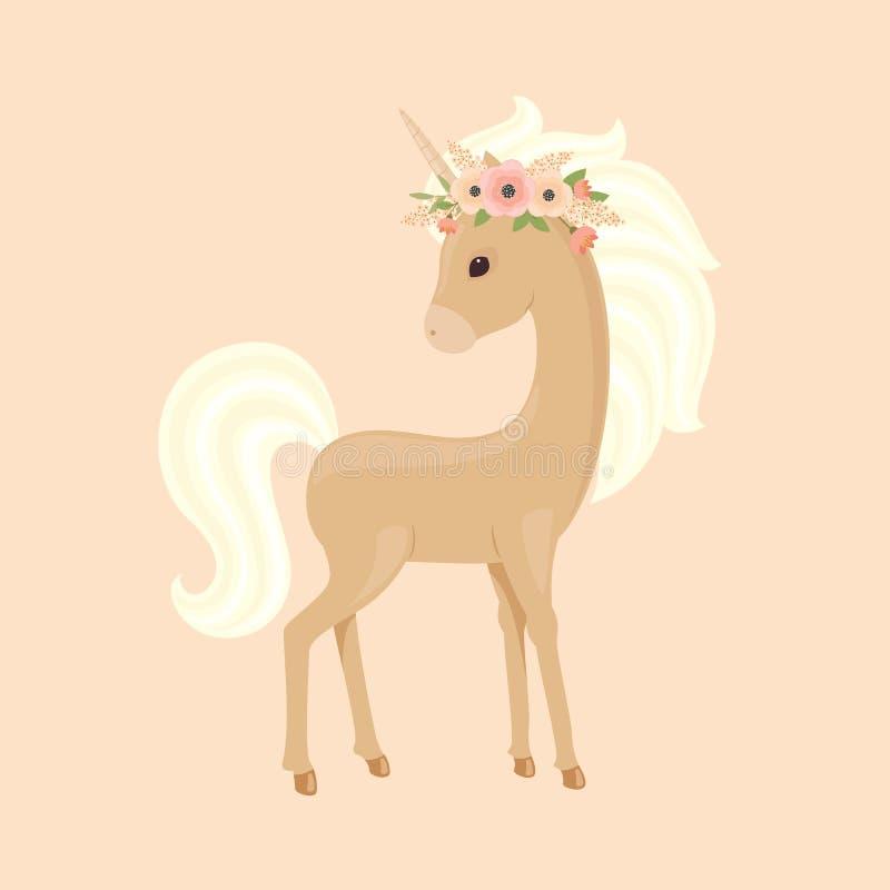 Licorne en guirlande florale illustration libre de droits