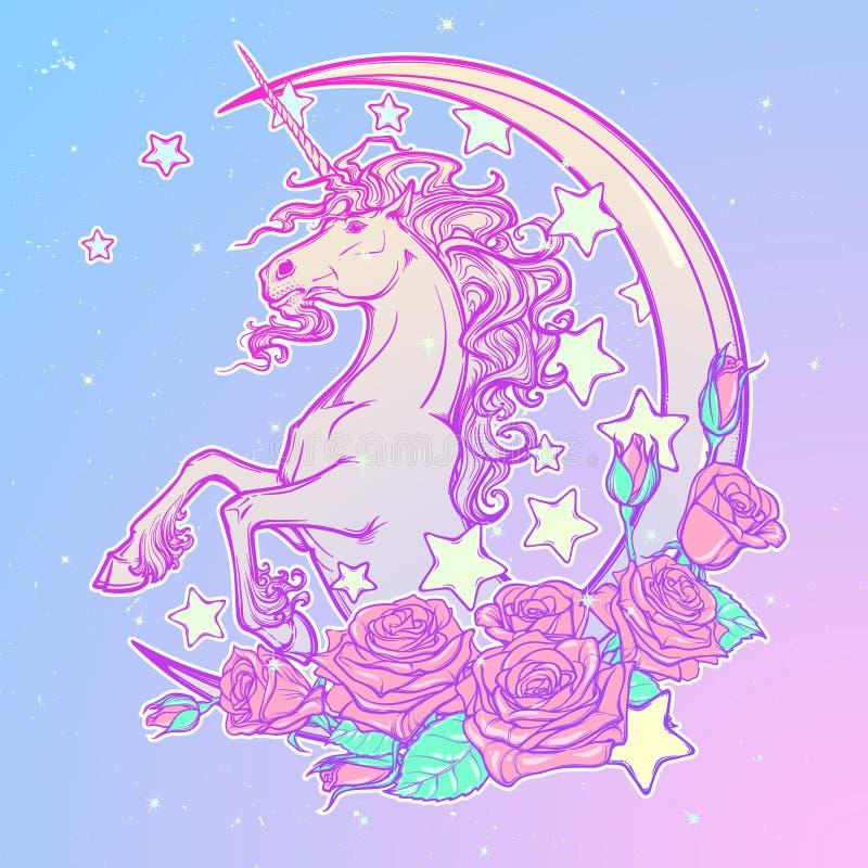 Licorne en pastel de goth avec la carte de voeux d'étoiles et de roses de croissant illustration de vecteur