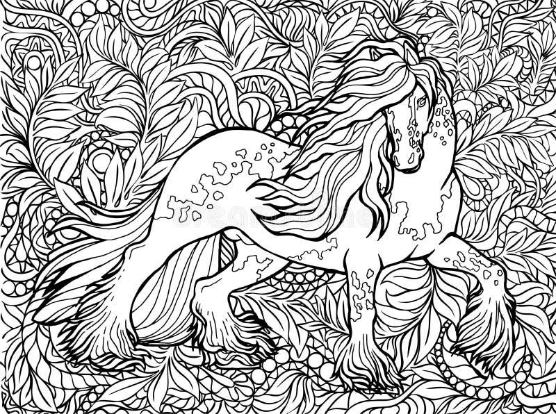 Licorne et fleurs Animal magique Dessin-mod?le de vecteur Noir et blanc, monochrome Pages de livre de coloriage pour des adultes  illustration libre de droits