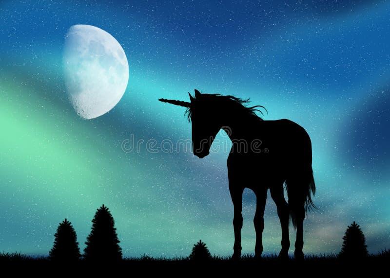 Licorne et lumières du nord illustration de vecteur
