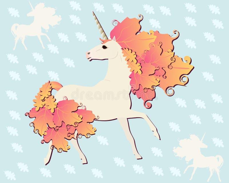 Licorne mignonne avec la crinière et la queue dans la forme des feuilles d'automne sur le fond bleu-clair avec la silhouette des  illustration libre de droits
