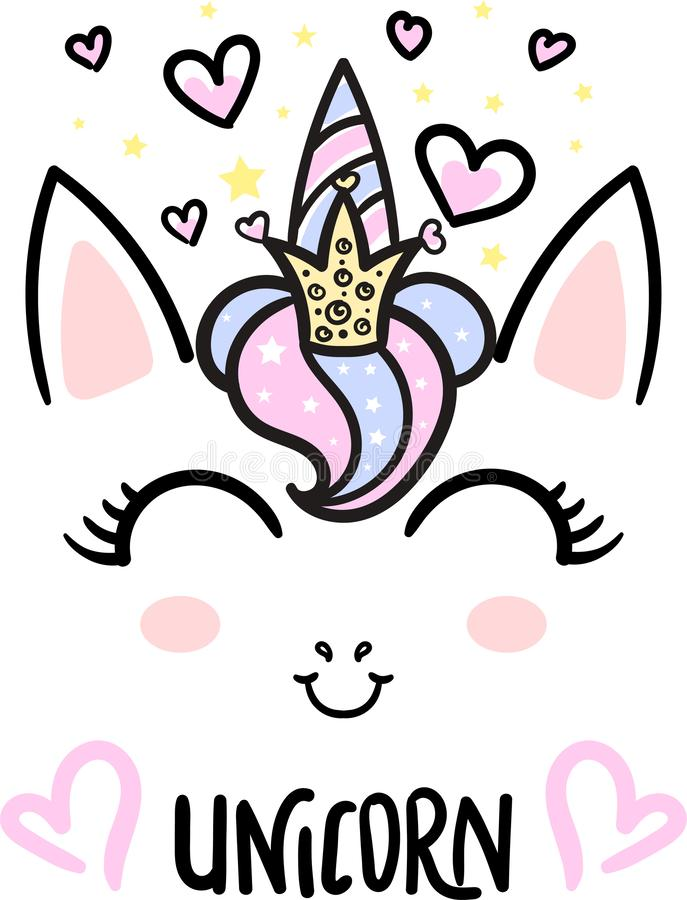 Licorne mignonne de bande dessinée avec une couronne Vecteur illustration de vecteur