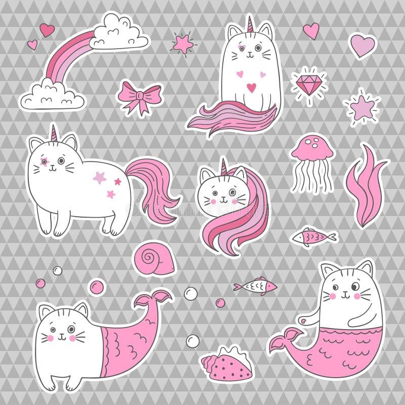 Licorne mignonne de chat, sirène Ensemble d'éléments décoratifs, corrections à la mode, autocollants illustration stock