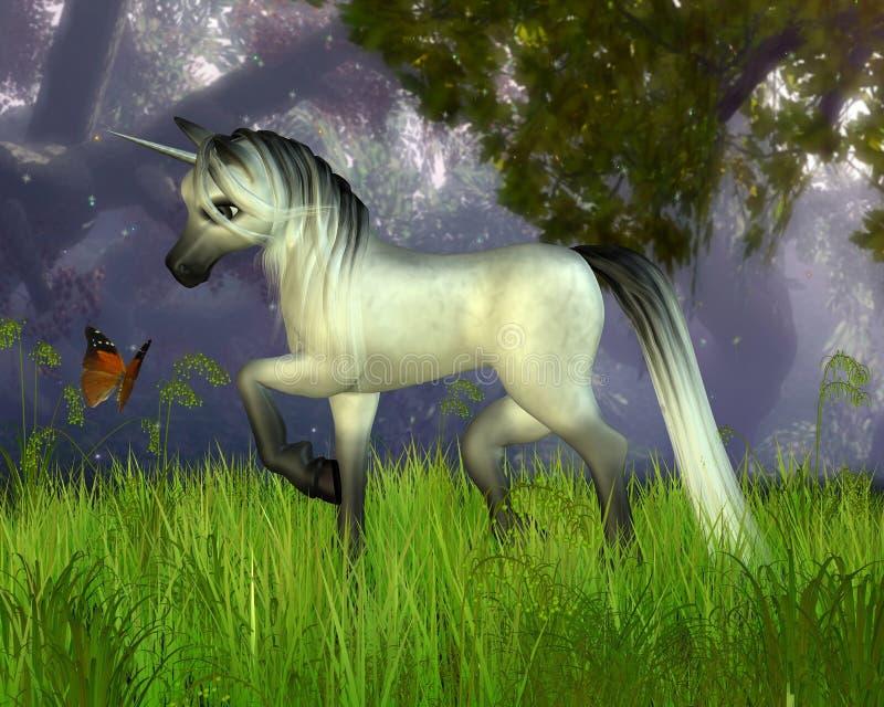 Licorne mignonne de Toon avec le fond de régfion boisée illustration stock