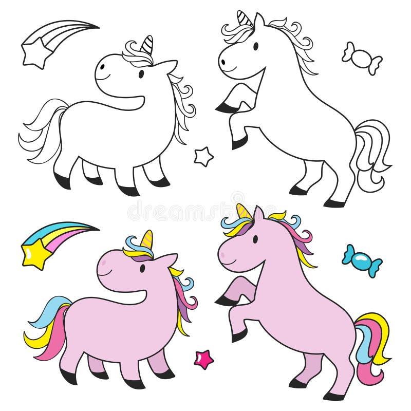 Licorne mignonne réglée pour livre de coloriage d'enfants illustration libre de droits