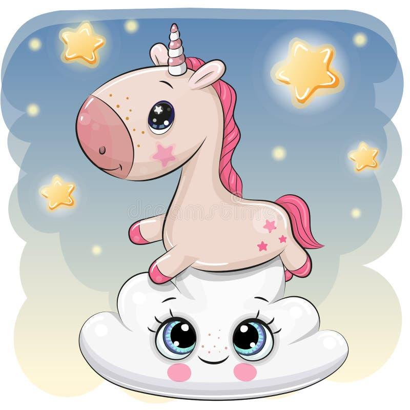Licorne mignonne a sur le nuage illustration libre de droits