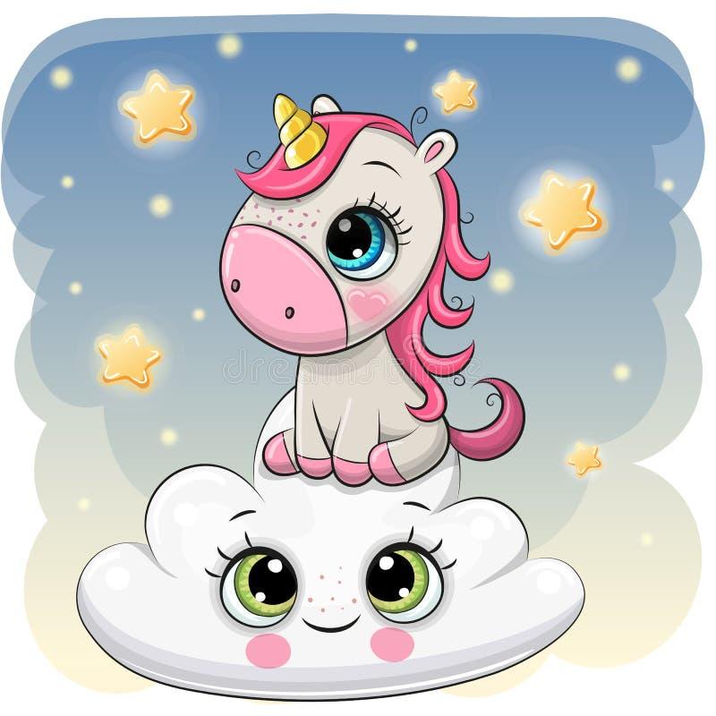 Licorne mignonne a sur le nuage illustration stock