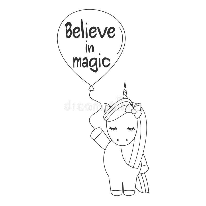 Licorne noire et blanche de vecteur de bande dessinée mignonne avec l'illustration de ballon pour l'art de coloration illustration stock