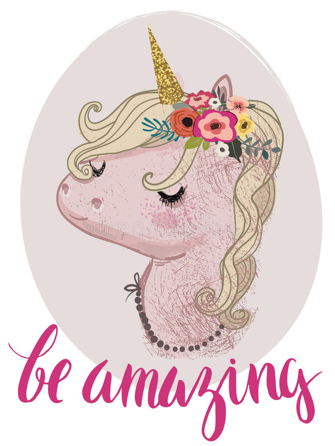 Licorne rose de conte de fées de bande dessinée illustration de vecteur