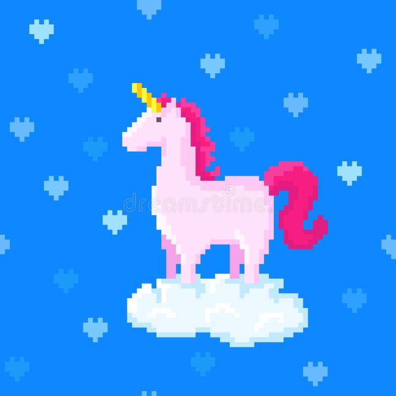 Licorne rose sur un nuage entouré par coeurs illustration de vecteur