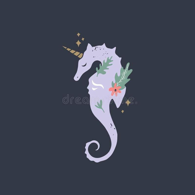Licorne stylisée d'hippocampe Silhouette, illustration graphique de la vie marine Thème de vacances d'été, copie de crèche Bon po illustration stock
