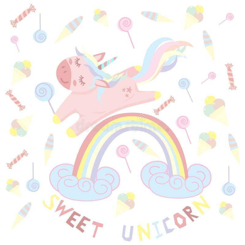 Licorne sur un arc-en-ciel avec la sucrerie - illustration de vecteur, ENV illustration libre de droits