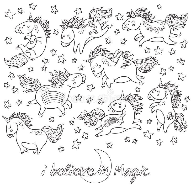 Licornes, arc-en-ciel et étoiles tirés par la main dans le contour illustration stock