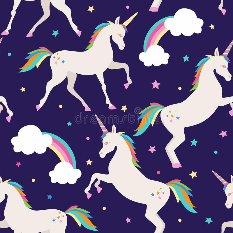 Licornes avec des ?toiles illustration libre de droits