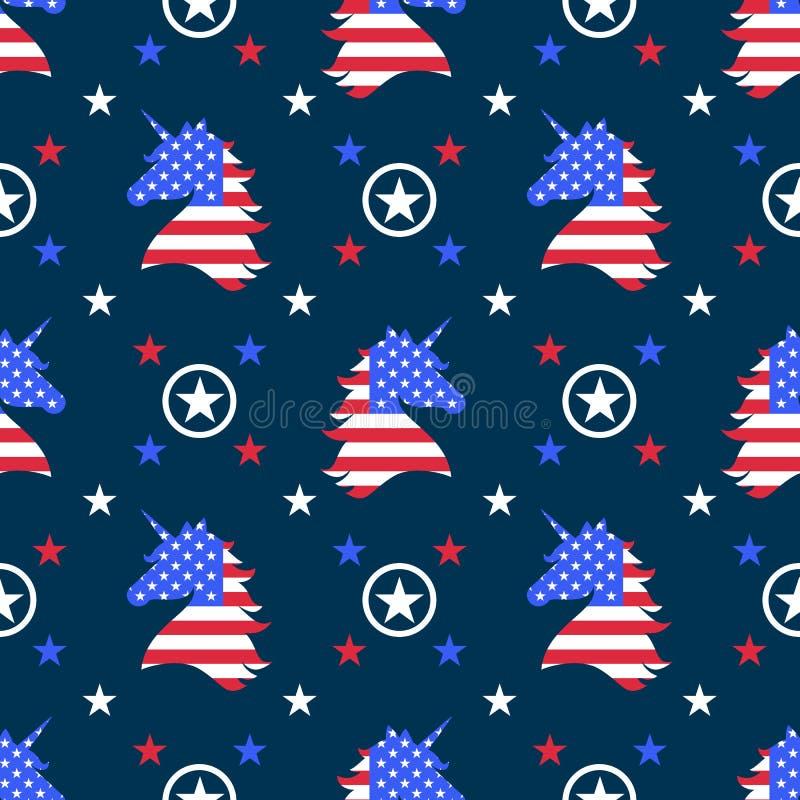 Licornes avec le modèle sans couture de drapeau américain photo stock