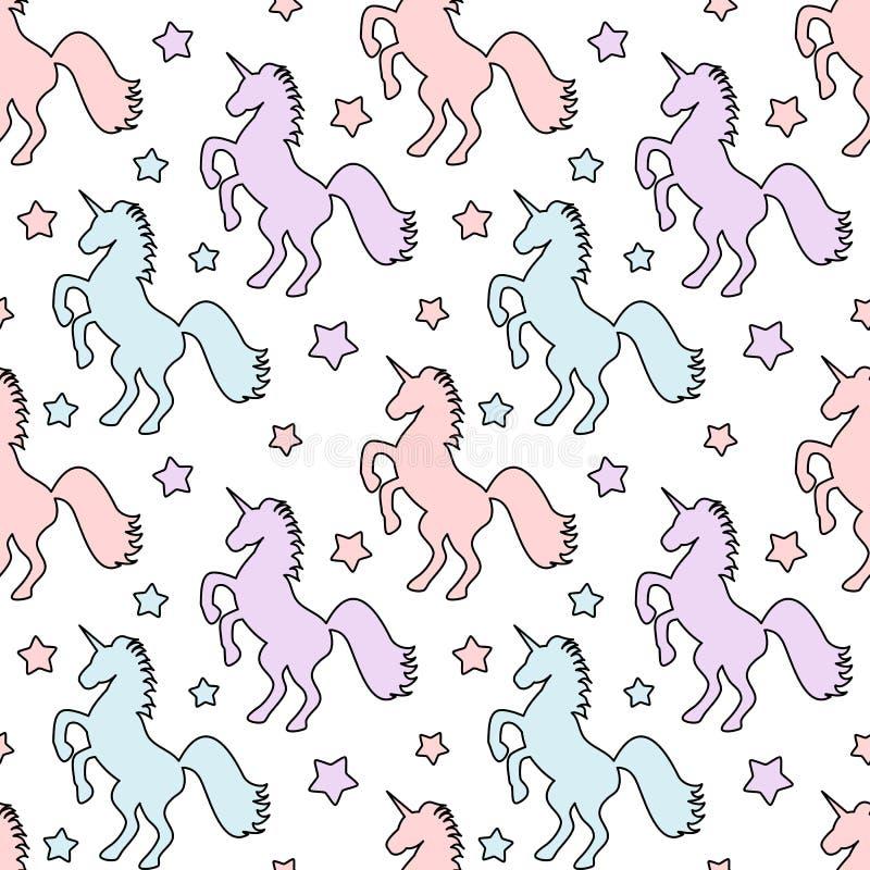 Licornes colorées mignonnes avec l'illustration sans couture de fond de modèle d'étoiles illustration de vecteur