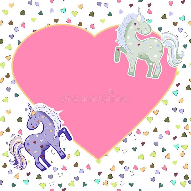 Licornes dans des couleurs en pastel sur le fond des coeurs dessins Cadre rose en forme de coeur Illustration pour le jour de Val illustration de vecteur