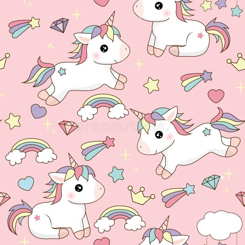 Licornes mignonnes de fond rose avec des coeurs d'étoiles et nuages sautant et se reposant avec les cheveux colorés illustration libre de droits