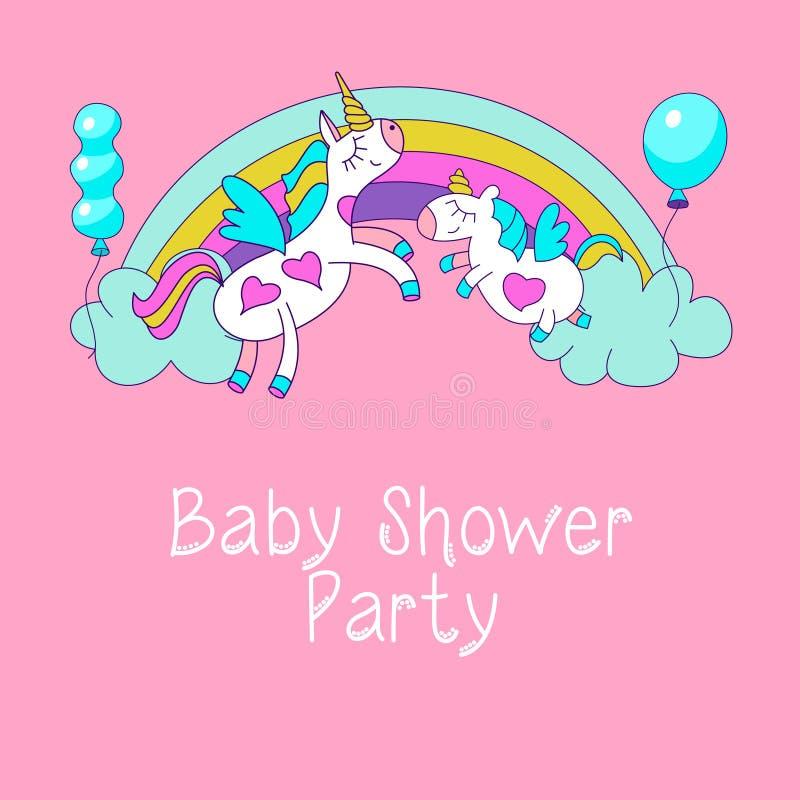 Licornes mignonnes sur l'arc-en-ciel parmi les nuages Partie de fête de naissance photos stock