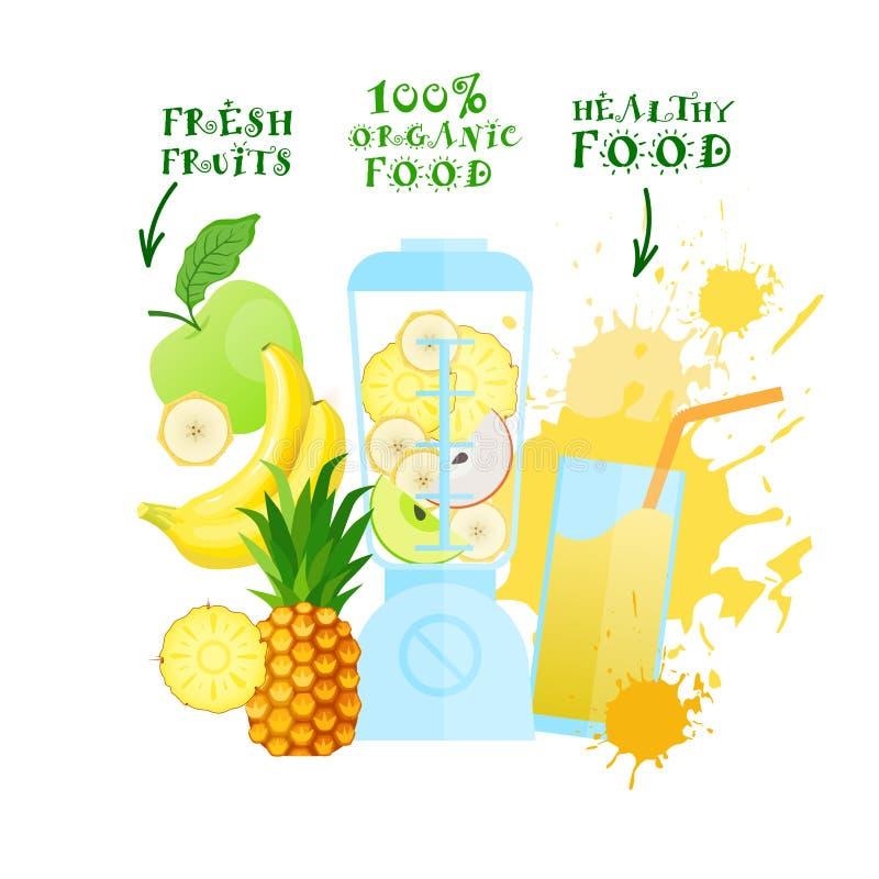 Licuadora con concepto de productos orgánico de Juice Cocktail Logo Healthy Food de las frutas frescas ilustración del vector