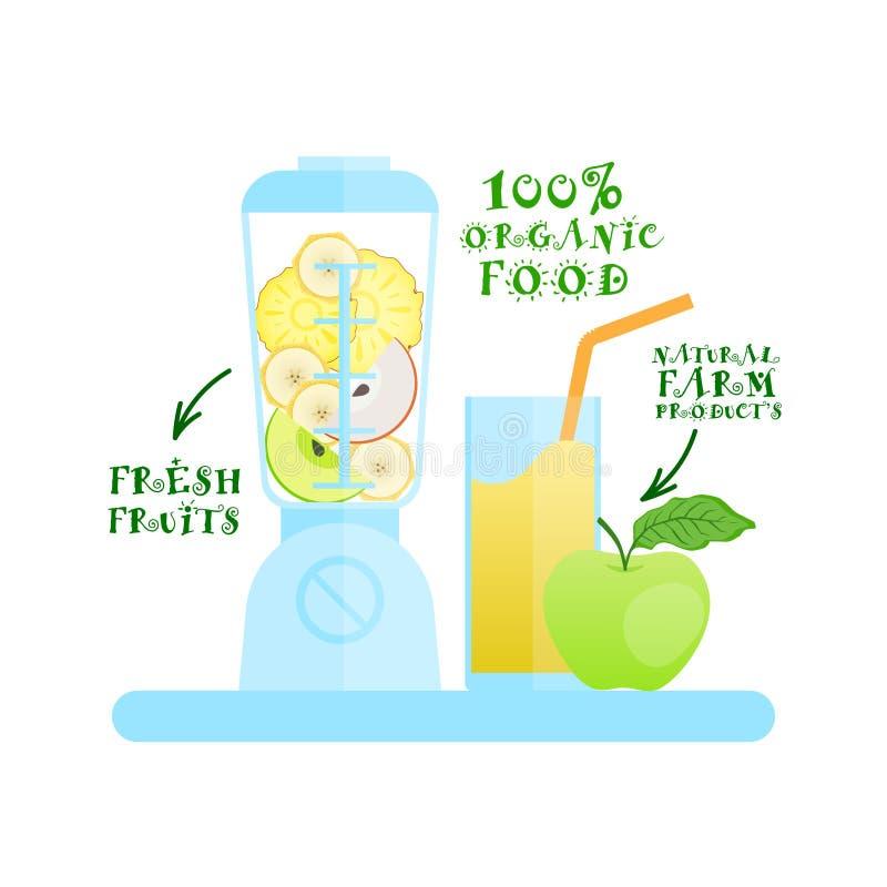 Licuadora con concepto de productos orgánico de Juice Cocktail Logo Natural Food de las frutas frescas ilustración del vector