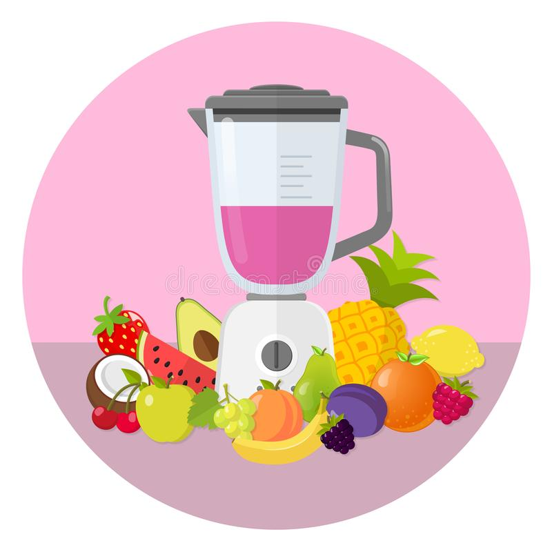 Licuadora con el icono plano del diseño del smoothie de las frutas imágenes de archivo libres de regalías