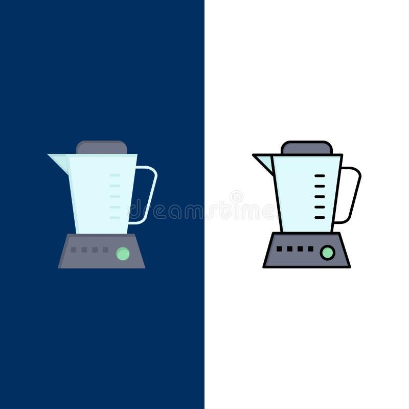 Licuadora, eléctrico, casera, iconos de la máquina El plano y la línea icono llenado fijaron el fondo azul del vector libre illustration