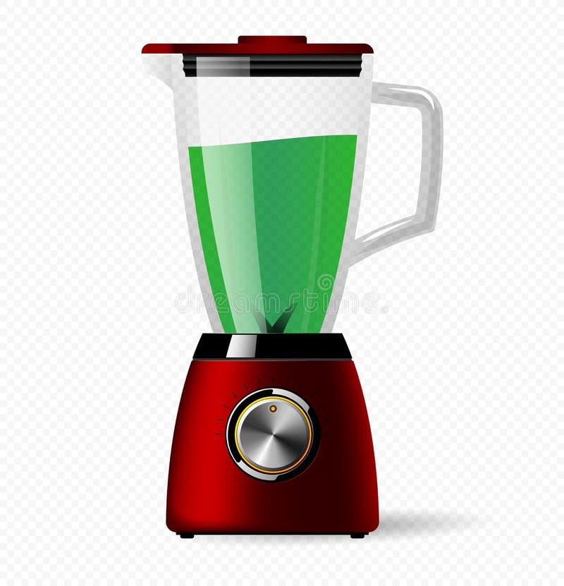 Licuadora inmóvil eléctrica de la cocina con un bol de vidrio Cocinar los smoothies, el cóctel o el jugo ilustración del vector