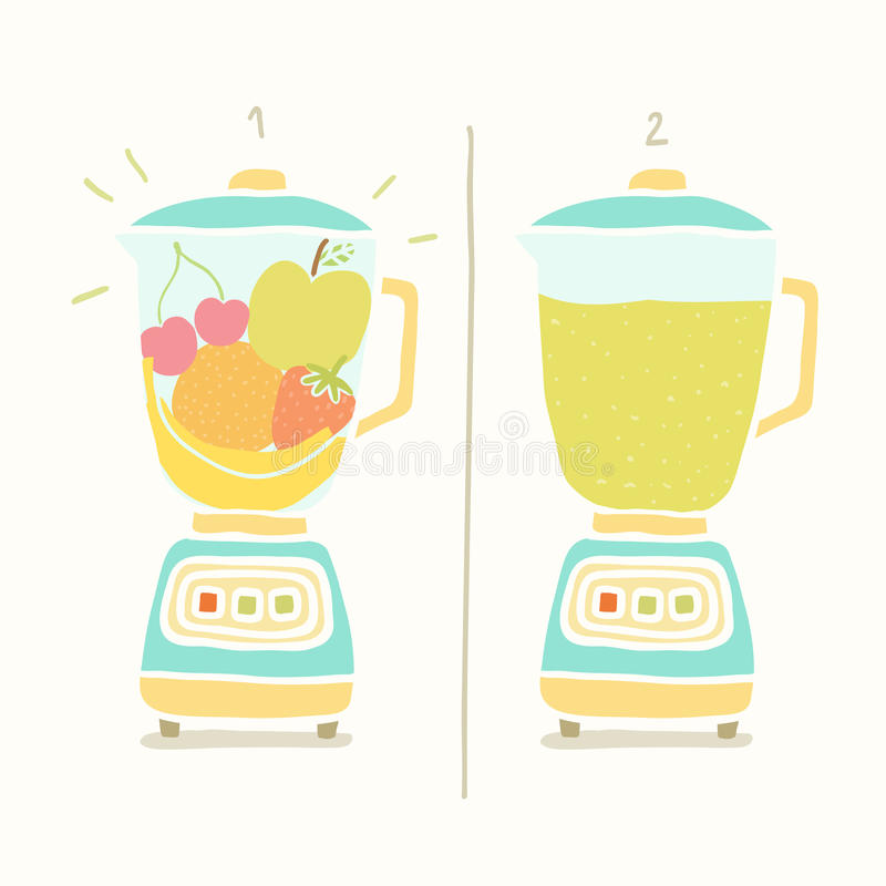 Licuadora que hace el smoothie de la fruta ilustración del vector