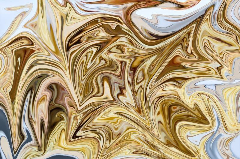 Licue el modelo abstracto con amarillo, Brown y los gráficos blancos colorean a Art Form Fondo de Digitaces con flujo de licuefac libre illustration