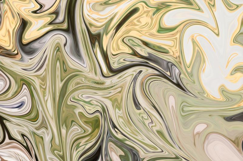 Licue el modelo abstracto con verde, negro y los gráficos amarillos colorean a Art Form Fondo de Digitaces con flujo de licuefacc libre illustration