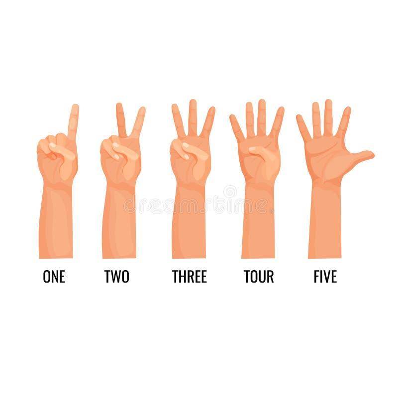 Liczący ręki pokazują postacie, obliczenie jeden, dwa, trzy, cztery, pięć ilustracja wektor