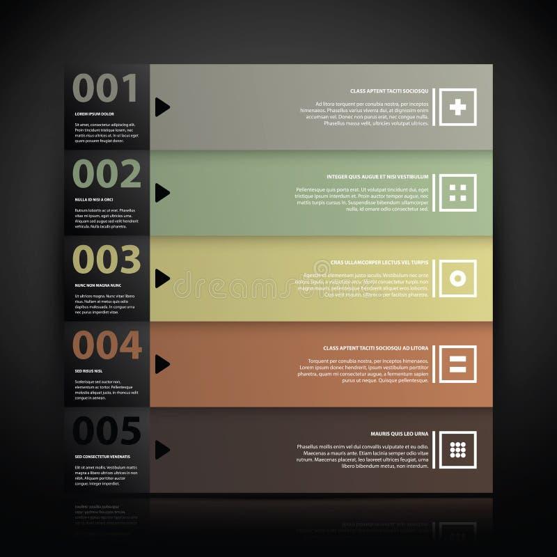 5 liczących sztandarów z tekstem i prostymi ikonami ilustracji