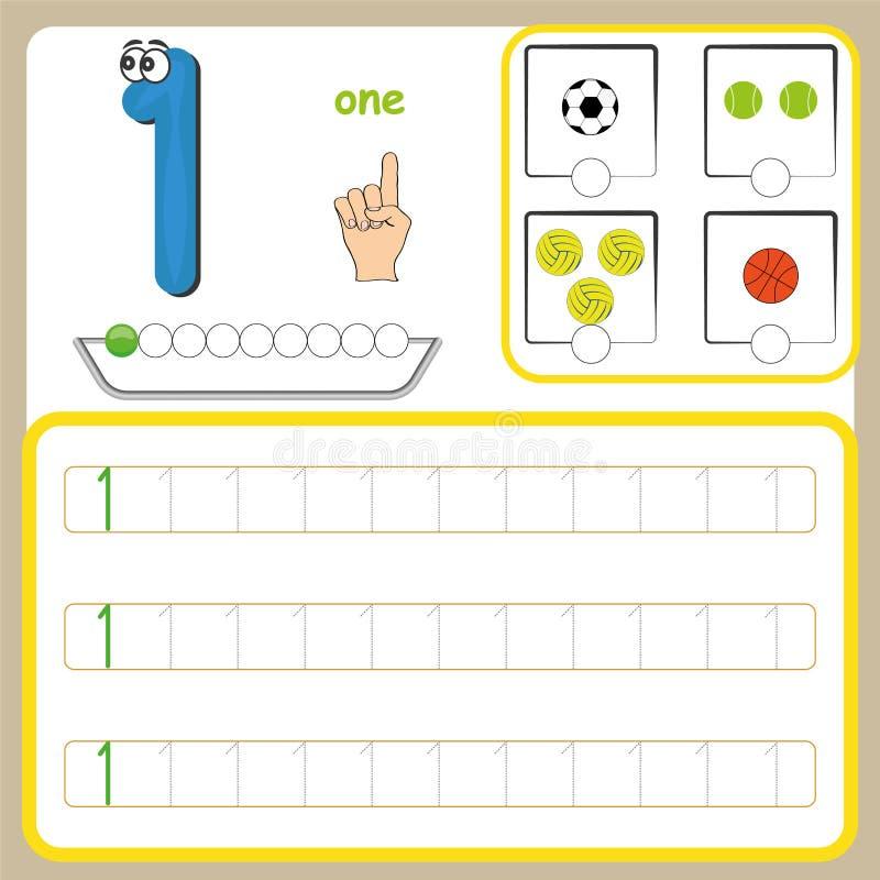 Liczb karty, liczenie i writing liczby, uczenie liczby, Liczą kalkowania worksheet dla preschool obrazy royalty free