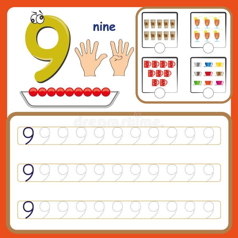 Liczb karty, liczenie i writing liczby, uczenie liczby, Liczą kalkowania worksheet dla preschool zdjęcia royalty free
