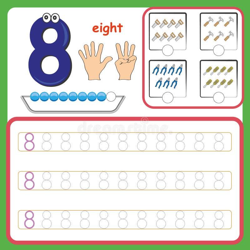 Liczb karty, liczenie i writing liczby, uczenie liczby, Liczą kalkowania worksheet dla preschool fotografia stock