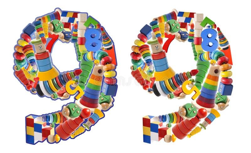 Liczba 9 budująca od drewnianych zabawek ilustracja wektor