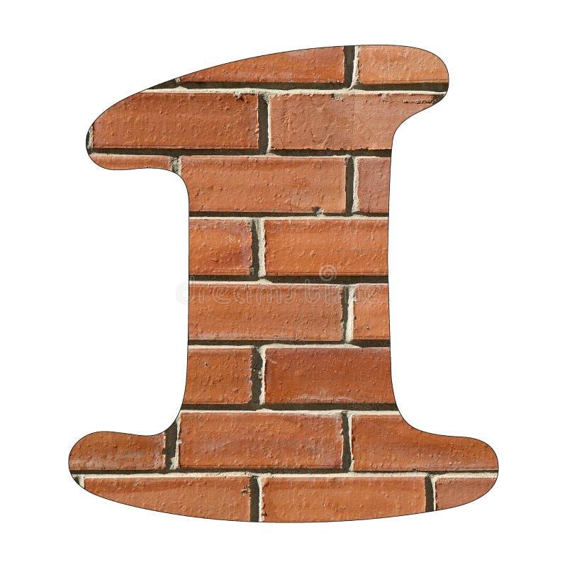 Liczba 1 - Czerwony ściany z cegieł tło ilustracja wektor