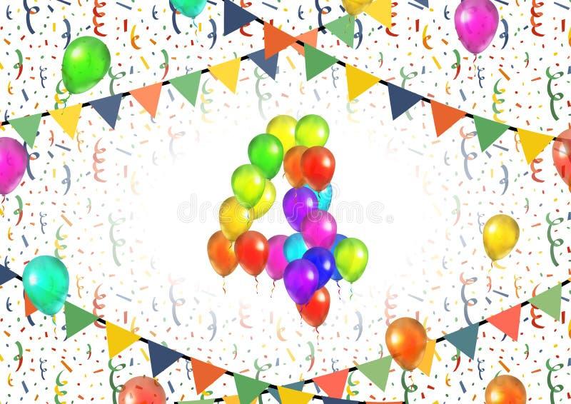 Liczba cztery zrobił up od kolorowych balonów na białym tle z confetti ilustracji