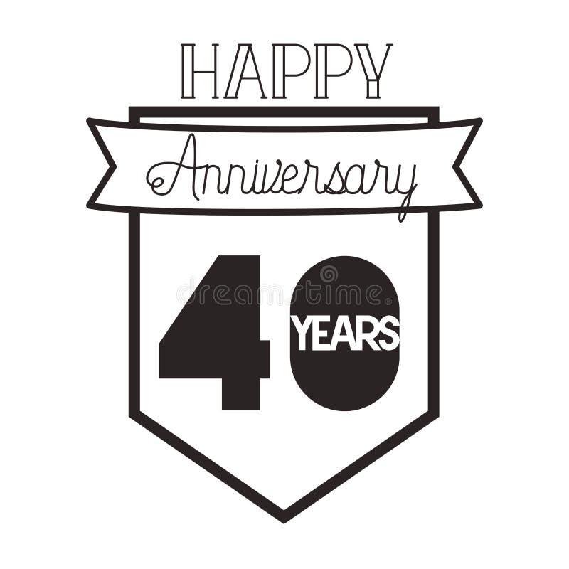 Liczba 40 dla rocznicowej świętowanie karty ikony ilustracja wektor