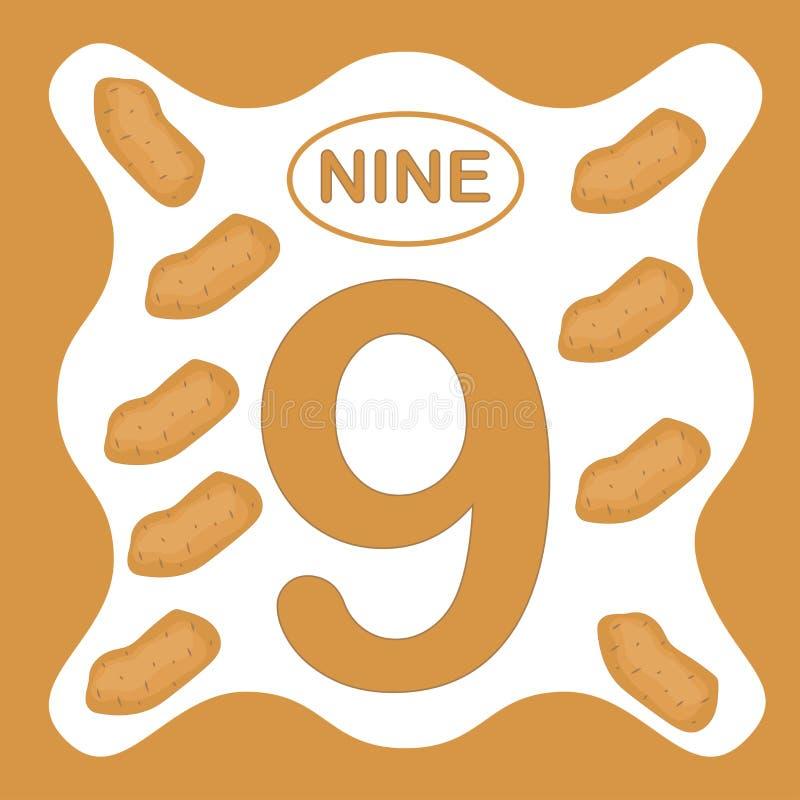 Liczba 9 dziewięć, edukacyjna karta, uczy się liczyć ilustracja wektor