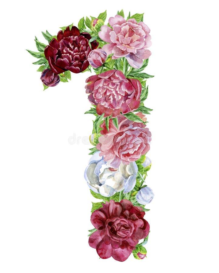 Liczba jeden akwarela kwiaty ilustracja wektor