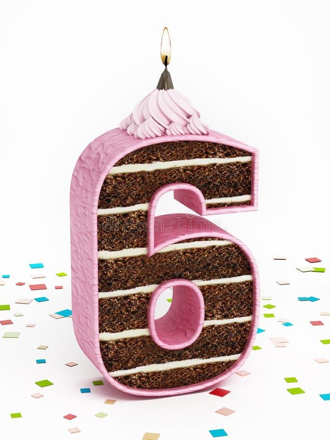Liczba 6 kształtował czekoladowego urodzinowego tort z zaświecającą świeczką obraz stock