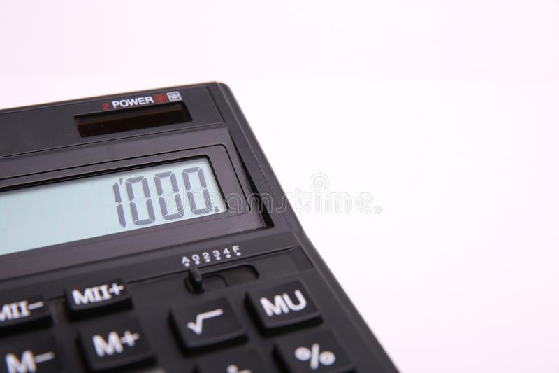 Liczba 1000 na kalkulatora ekranie obraz stock