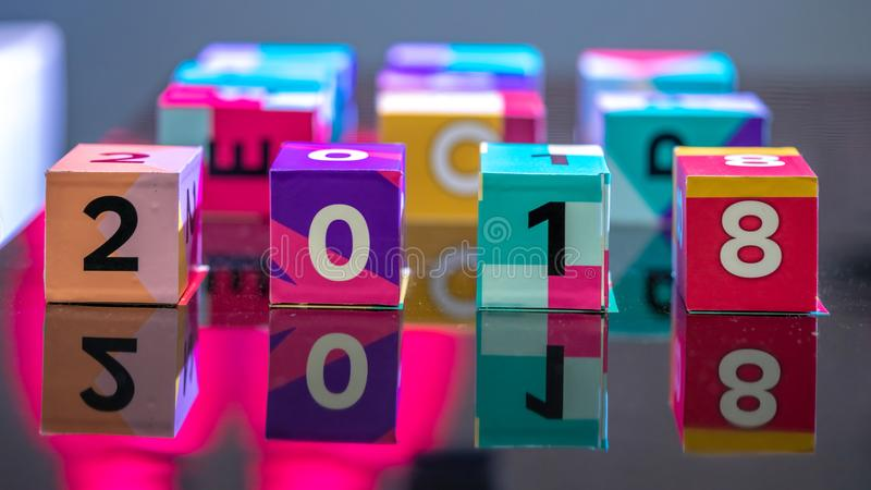 Liczba Na Kolorowym sześcianie obrazy stock