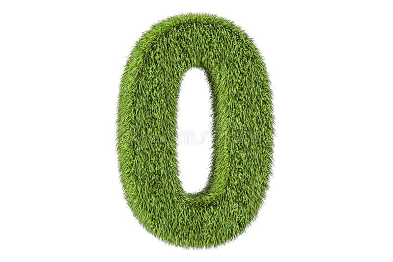 Liczba (0) od trawy, 3D rendering ilustracja wektor